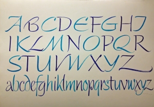 Blue and turquoise brush alphabet by Karlgeorg Hoefer.