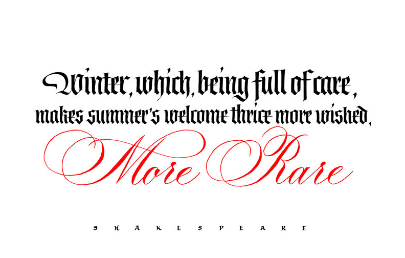 Winter quote by Shakespeare Sonnet LVI Calligraphy Copperplate Fraktur New Year Winter, which, being full of care, makes summer's welcome thrice more wished, more rare