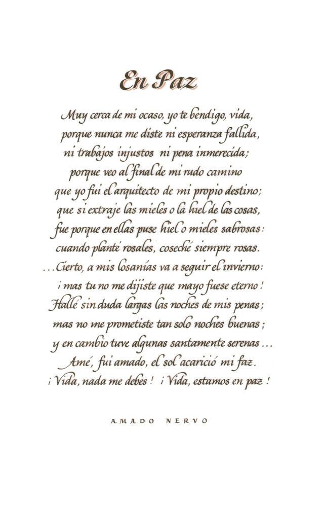 En Paz Amado Nervo Juan Crisóstomo Ruiz de Nervo Italic Calligraphy