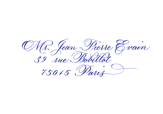 Envelope calligraphy blue Copperplate flourish address
