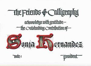 Sonja's Certificate